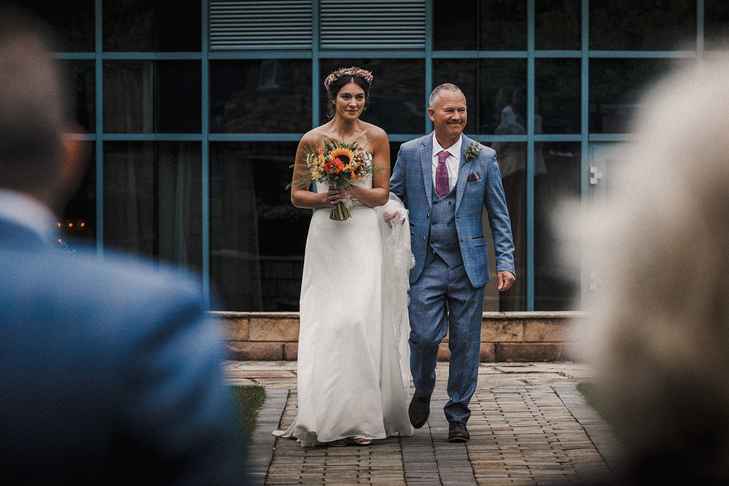 brides father seeing his daughter for the very fist time at Hornington manor
